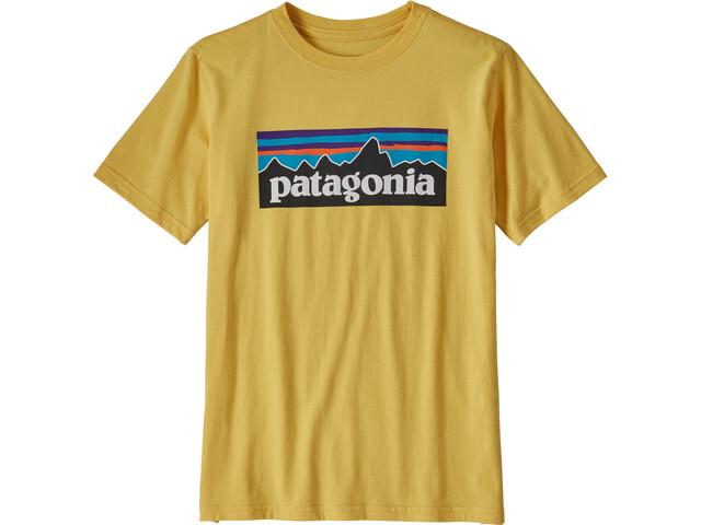 Patagonia P-6 Logo Organic T-Shirt Boys surfboard yellow